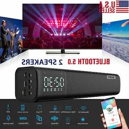 Bluetooth5.0 Wireless Speaker TV PC Sound Bar Subwoofer Bass